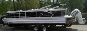 Pontoon boat on trailer
