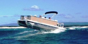 pontoon boat offshore